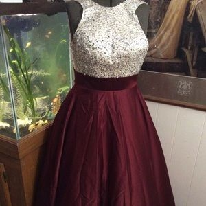 04d285fa31a Burgundy With Cream & Sequin Top Formal Gown